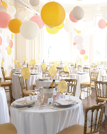 balloons decorate a wedding Martha Stewart Weddings