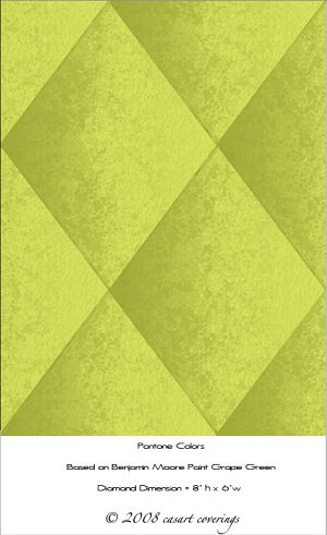faux-padded-harlequin-wall finish-casart coverings-lime green, as seen on Slipcovers for your walls, casartblog