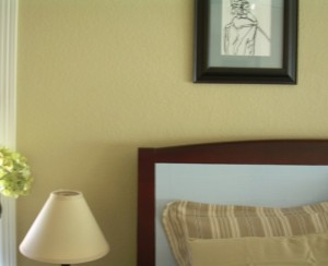 DIY Casart Faux Linen softens a real headboad on Slipcovers for your walls, casartblog