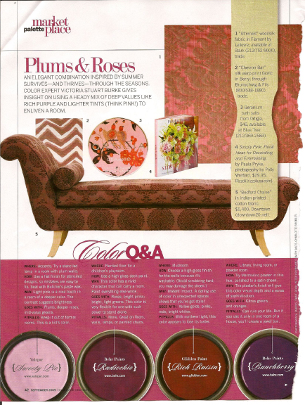Plum & Rose Paint Hues. Traditional Home September 2009