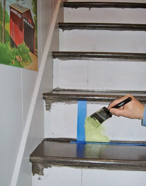 Stairwell makeover on Slipcovers for your walls, casartblog