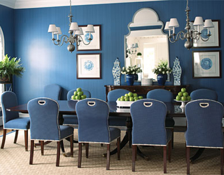 Blue Donovan strie Dining Room. House Beautiful