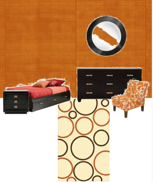 Casart Orange Faux Linen temporary wallpaper Bedroom Styleboard_kaboodle-styleboard concept_casartblog