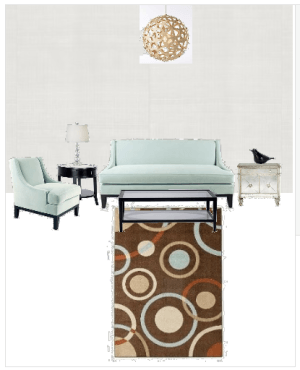 Casart coverings Living Room Kaboodle Styleboard concept 1 with white Faux Linen temporary wallpaper_casartblog