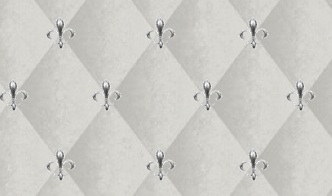 Casart coverings Gray Faux Padded Harlequin temporary wallpaper with Fleur-de-lis accent_casartblog