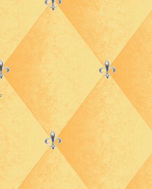 Casart coverings Yellow Faux Padded Harlequin temporary wallpaper with fleur-de-lis accent_casartblog