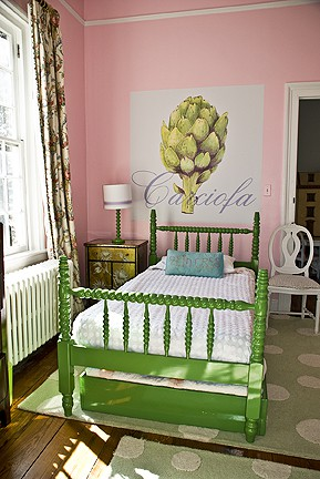 casart_coverings_Artichoke_bedroom, as seen on Slipcovers for your walls, casartblog