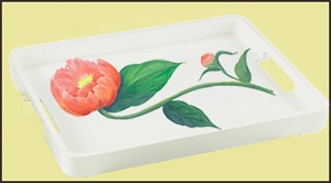 Casart Peony removable wallpaper used on a tray_casatblog