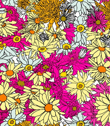 Casart coverings Colored Flower Power Variation 2 temporary wallpaper_casartblog