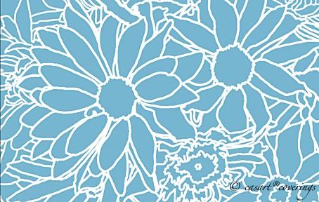 Casart coverings - Flower Power - white lines on blue