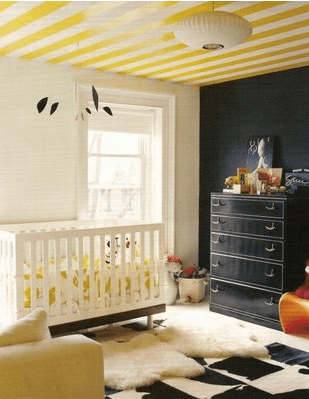 nursey_yellow_striped_ceiling on Slipcovers for your walls casartblog