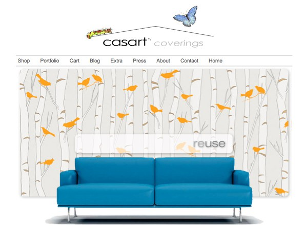 Casart-coverings_Orange_Birds-and-Birch_casartblog on Slipcovers for your walls