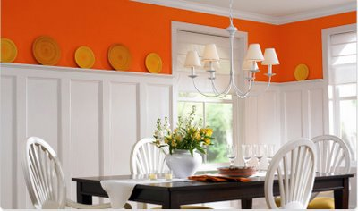 Orange accent wall as seen on Slipcovers for your walls