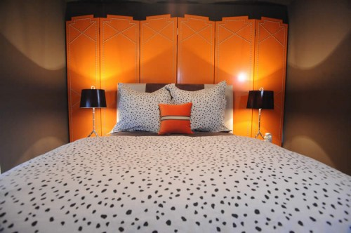 Orange-Headboard-eclectic-bedroom seen on Slipcovers for your walls