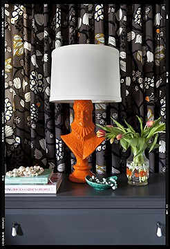 Orange-figure-Lamp-eclectic seen on Slipcovers for your walls, casartblog
