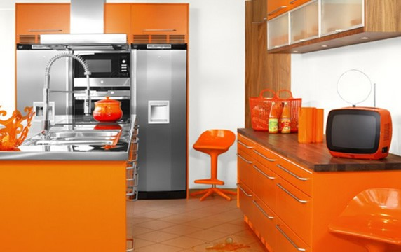 Modular Orange Kitchen Cabinets seen on Slipcovers for your Walls, casartblog