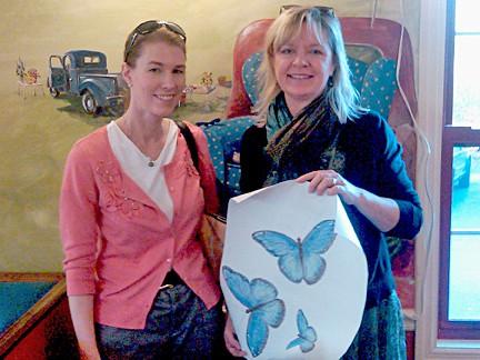 Giving Blue Monarch butterflies to Susan Binkley of the Blue Chair_casartblog