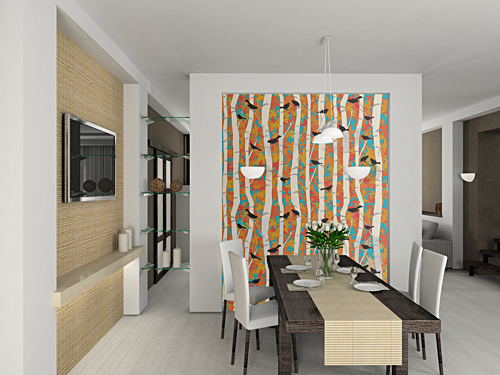 Casart Birds and Birch colored in Dining Room, on casartblog