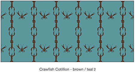 Casart Coverings Crawfish Cotillion_Teal-Brown_temporary wallpaper_casartblog