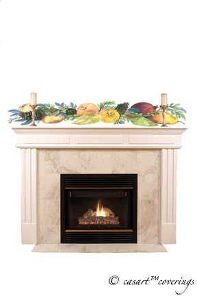 Casart Della Robbia over a mantel as seen on Slipcovers for your walls, casartblog