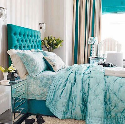 design-happens-tiffany-blue-bed, seen on Slipcovers for your walls, casartblog