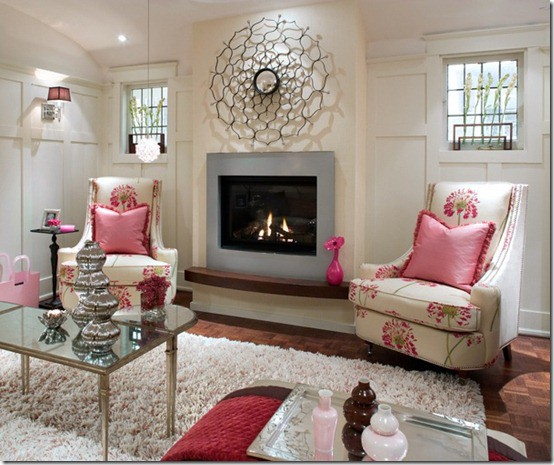 Pink & White Candice Olson via Jax does design, as seen on Slipcovers for your walls