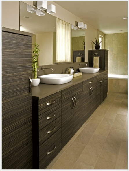 Houzz_zebrawood_Modern-Bath via Creative Kitchen & Bath, seen on casartblog