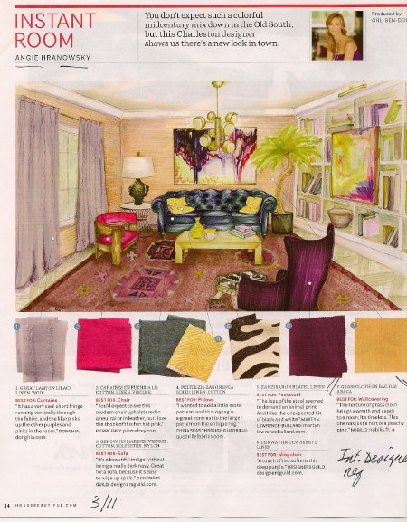 Angie Hranowsky uses Fuschia in House Beautiful, as seen on casartblog