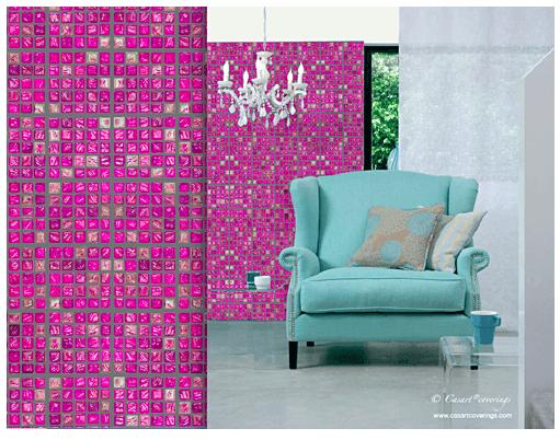 Casart coverings-Faux Glass-Pink-tile in room_casartblog