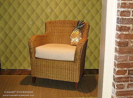 Casart coverings Lime Faux Padded Harlequin, Customized with Silver Butterfly Stencils