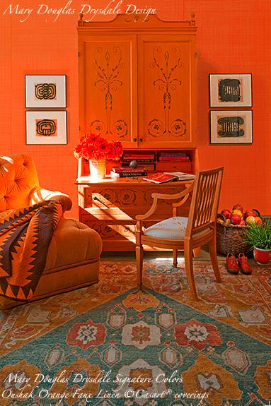 Mary Douglas Drysdale Signature Colors - Oushak Orange Faux Linen - Casart coverings