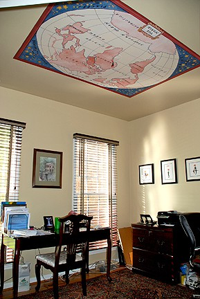 Study after custom Casart World ceiling Map Slipcovers for your walls, casartblog
