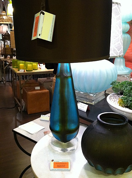 Teal-sea glass lamp_casartblog, as seen on Slipcovers for your walls