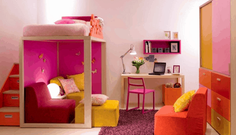 pink-orange combo_Houzz, as seen on Slipcovers for your walls, casartblog