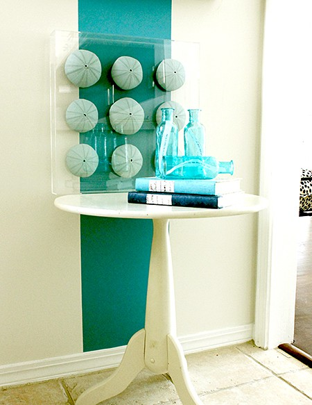 Karen Robertson Collection Aqua Stripe, Casart wallcovering as seen on Slipcovers or your walls