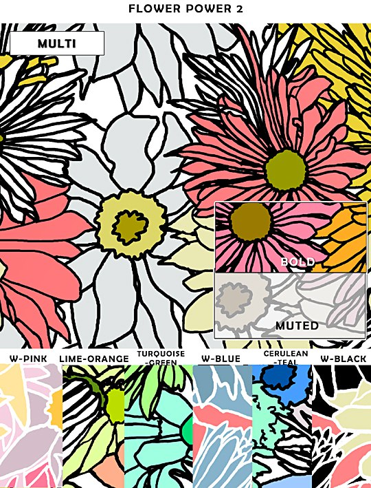 Casart coverings Flower Power Sample, Colored, as seen on Slipcovers for your walls, casartblog