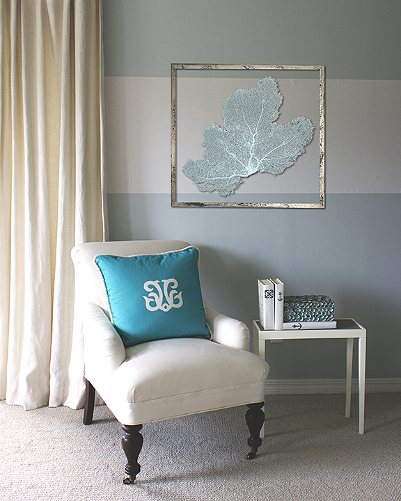 Casart-KRC_teal seafan on oyster strip_press_web, as seen on Slipcovers for your walls, casartblog