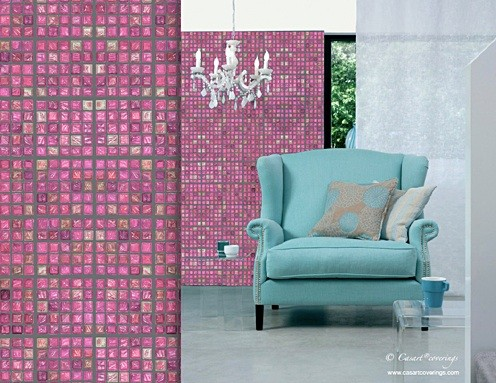 casart-faux-glass-mosaic-pink-tile-temporary-wallpaper-in-room on Slipcovers for your walls casartblog