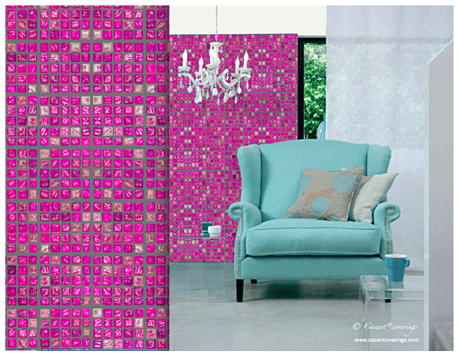 Casart coverings Faux Glass Mosaic Pink-tile temporary wallpaper in room, as seen on Slipcovers for your walls, casartblog