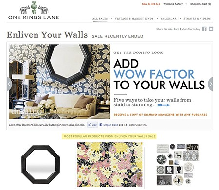 Casart removable wallpaper is one of most popular items on One Kings Lane sale, as seen on casartblog