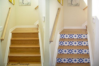 Casart faux tile stair risers-before and after, as seen on Slipcovers for your walls, casartblog
