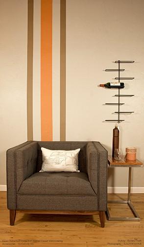 Chair_KRC_stripes_tangerine-dark sand_Casart, as seen on Slipcovers for your walls, casartblog