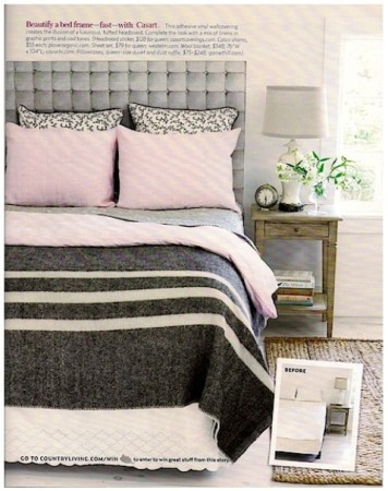 Casart gray faux padded headboard-Country Living
