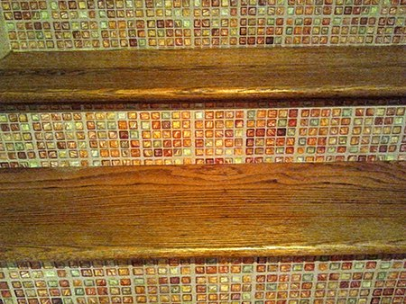 Casart customer - Detail stair riser, as seen on Slipcovers for your walls, casartblog