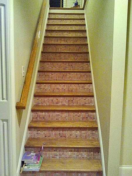 Casart customer Stairwell after, as seen on Slipcovers for your walls, casartblog