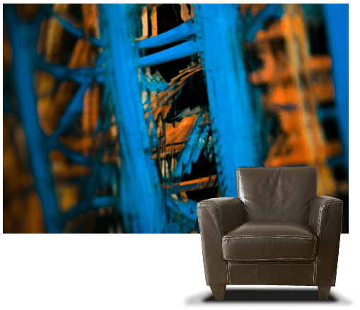 Casart coverings_Blue-Lines temporary wallpaper_Photography_with-chair_as seen on Slipcovers for your walls,casartblog