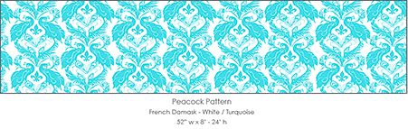 Casart coverings_French Peacock-Damask-turquoise_casartblog, seen on Slipcovers for your walls