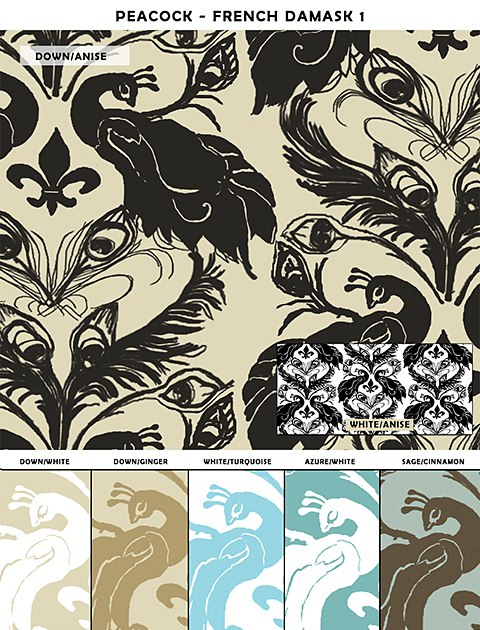 Casart French Damask_temporary wallpaper sample1_web, as seen on Slipcovers for your walls, casartblog