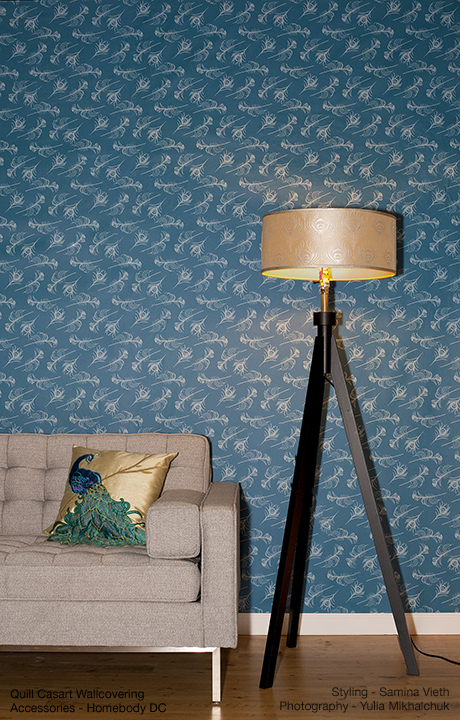 Casart coverings Peacock Quill room view, on Slipcovers for your walls, casartblog