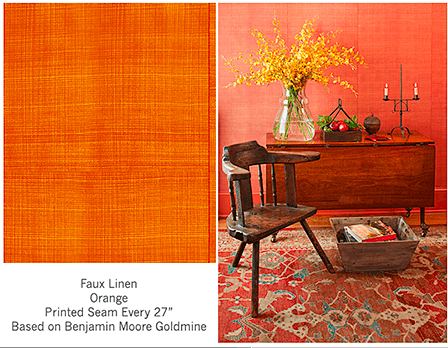 casart-orange-faux-Linen and Drysdale-room view_casartblog